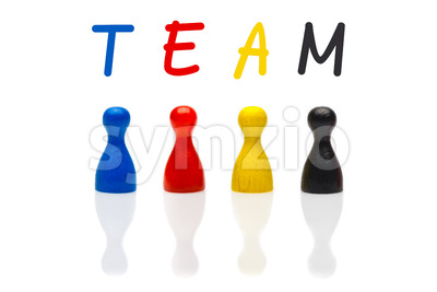 Concept team, teamwork, organization primary color black Stock Photo