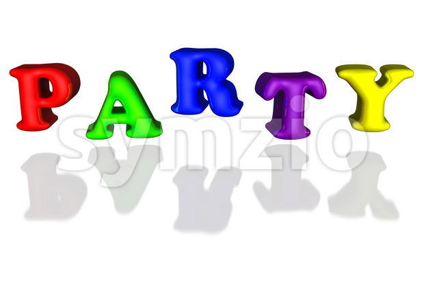 Balloon inflated letters party colorful primary 3d Stock Photo