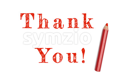 Thank you sketch red pencil Stock Photo