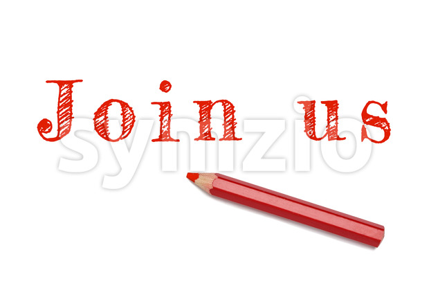 Join us sketch text red pencil Stock Photo