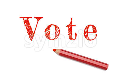 Vote text sketch red pencil Stock Photo