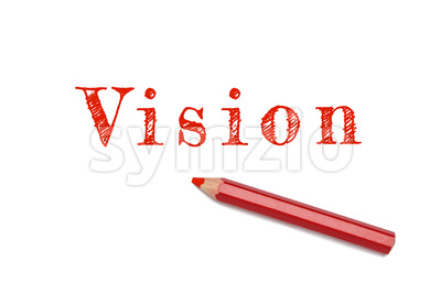 Vision text sketch red pencil Stock Photo