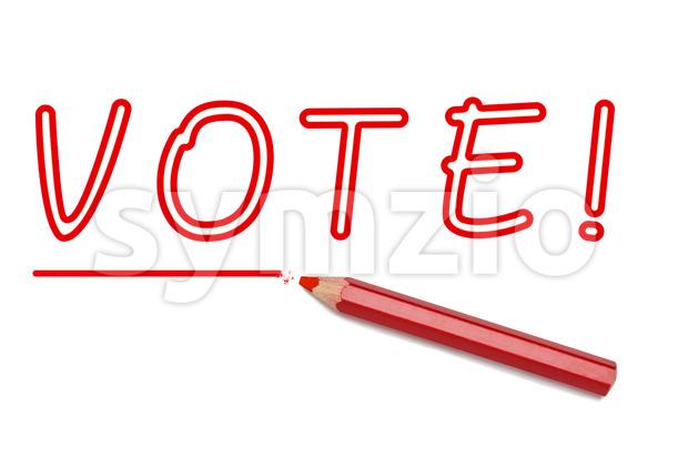 Vote written red pencil Stock Photo