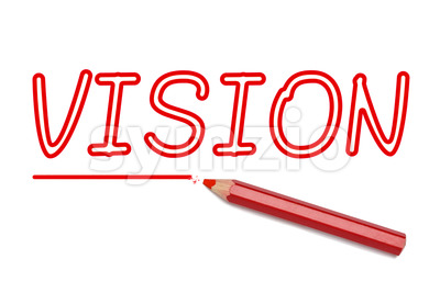 Vision written red pencil Stock Photo