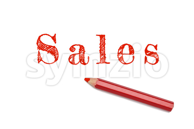 Sales sketch red pencil Stock Photo