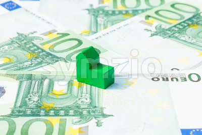 Concept house, bill, income, salary euro Stock Photo