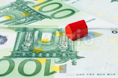 Concept house for sale money euro red Stock Photo