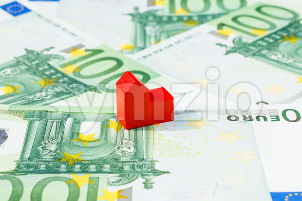 Concept house sell foreclosure money banknote red Stock Photo