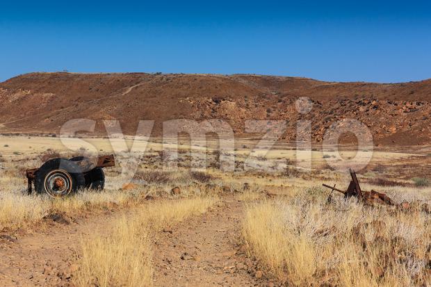 Trailer wreck desert Stock Photo