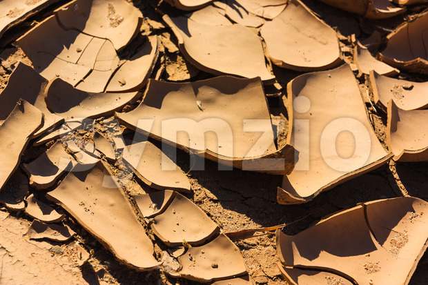 Close up cracks dry riverbed Stock Photo