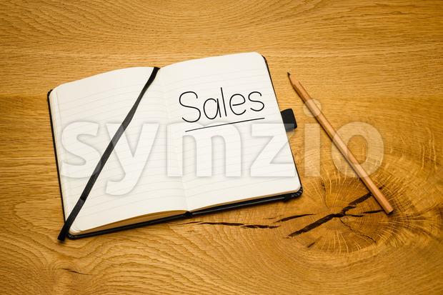 Notebook desk text goal pencil Stock Photo
