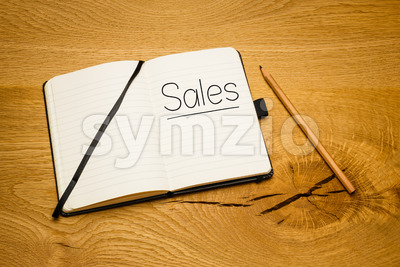 Notebook desk text goal pencil Stock Photo