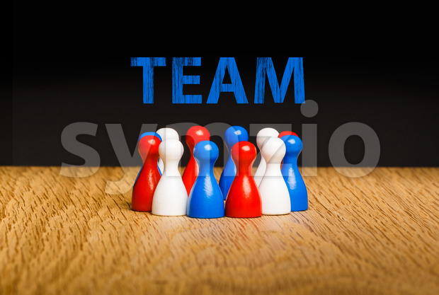 Concept for team red white blue chalk text blue Stock Photo