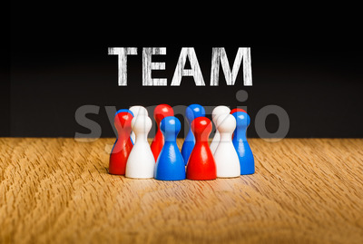 Concept for team red white blue chalk text white Stock Photo