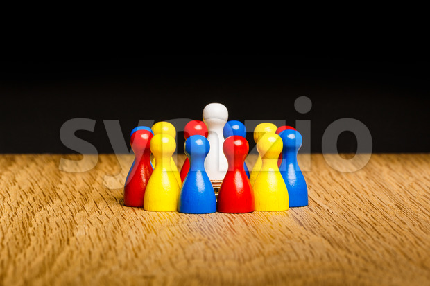 Concept leader, leadership and adoration circle pawns Stock Photo