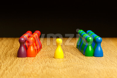 Concept team, leader, leadership, adoration yellow pawn Stock Photo