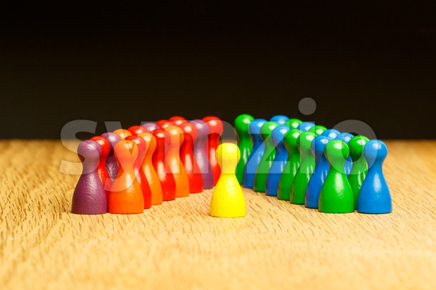 Concept leader, leadership, adoration yellow pawn Stock Photo