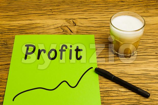 Profit graph green paper Stock Photo