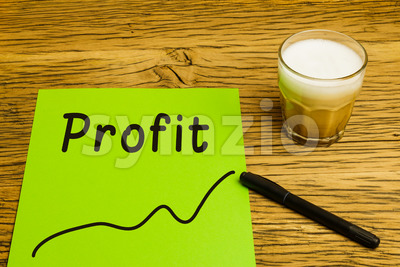 Profit graph green paper Stock Photo