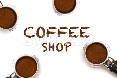 Coffee Shop text four pistons Stock Photo