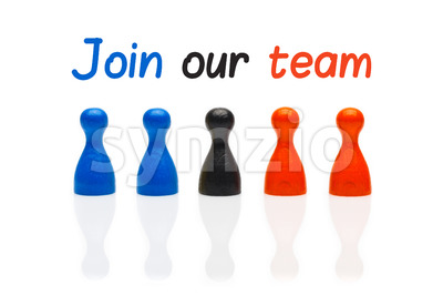 Concept join our team pawn three color Stock Photo
