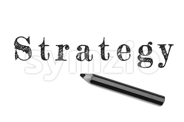 Strategy text sketch black pencil Stock Photo