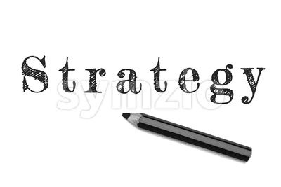 Strategy text sketch black pencil Stock Photo