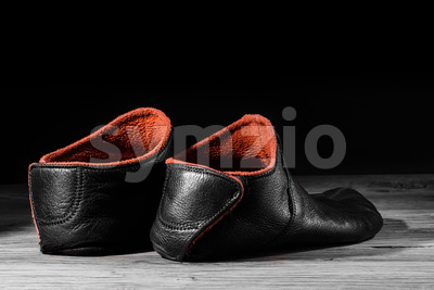 Empty slipper shoe home special light. Stock Photo