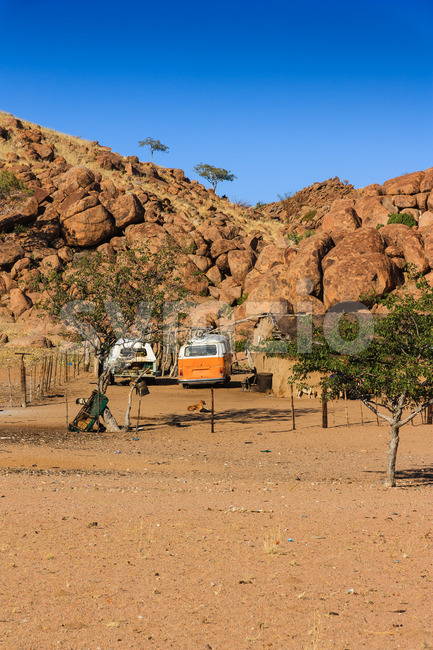 DAMARALAND, NAMIBIA - JUNE 09, 2014: Household car graveyard in desert environment because parts can't be bought Stock Photo