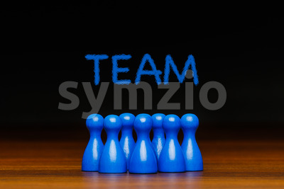 Concept blue team wih chalk text Stock Photo