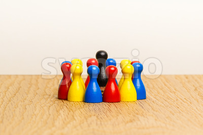 Concept bright leader, leadership and adoration circle pawns Stock Photo