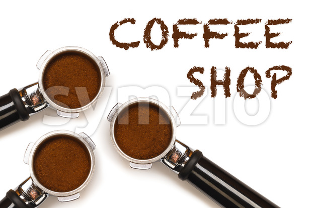 Coffee Shop text three pistons Stock Photo