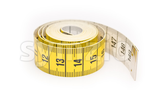 Rolled yellow black measure lint Stock Photo