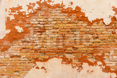 Texture old brick wall plaster Stock Photo
