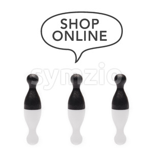 Black pawns say shop online text balloon Stock Photo