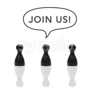 Black pawns say join us! text balloon Stock Photo