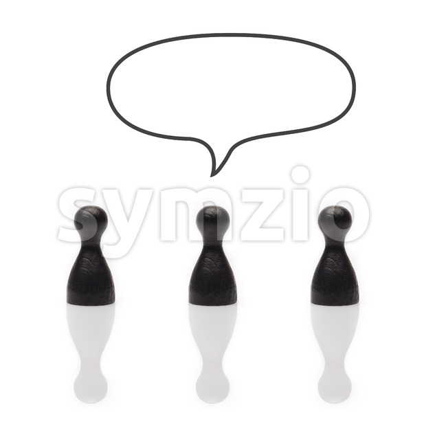 Black pawns empty text balloon Stock Photo
