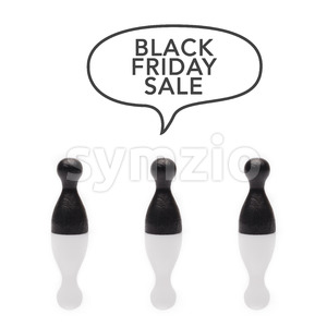 Black pawns say black friday sale text balloon Stock Photo