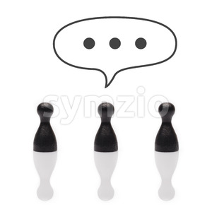 Black pawns dots in text balloon Stock Photo