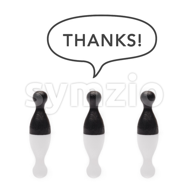 Black pawns say thanks text balloon Stock Photo