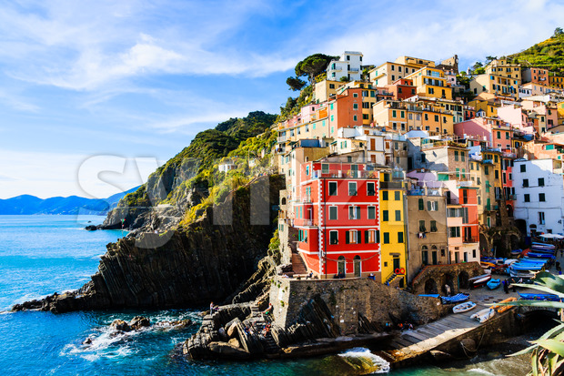 Riomaggiore village cinque terre Italy Stock Photo