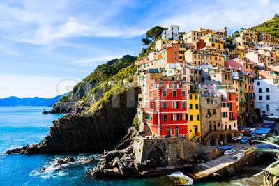 Riomaggiore village cinque terre Italy Stock Photo