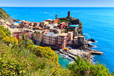 Vernazza Cinque Terre walk trail Italy Stock Photo