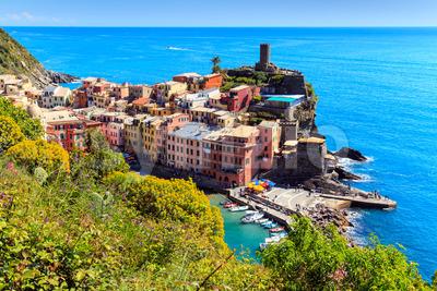 Vernazza Cinque Terre walk trail Italy Stock Photo