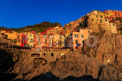 Manarola Cinque Terre Italy at sunset Stock Photo
