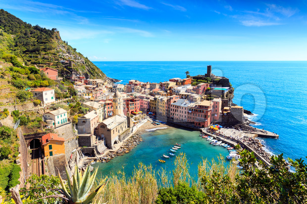 Vernazza cinque terre Italy with railway Stock Photo
