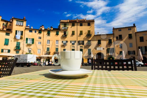 Cup of coffee italian terrace Stock Photo