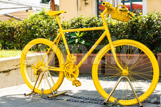 Yellow painted mountainbike Stock Photo