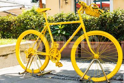 Yellow painted mountainbike Stock Photo