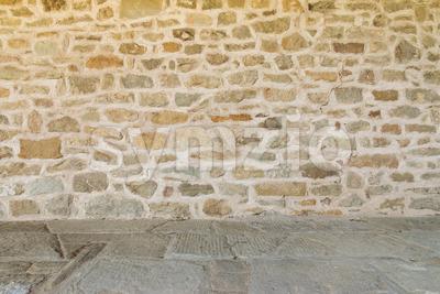 Medieval wall and floor monastery Italy Stock Photo